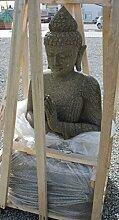 XL Lavastein Figur 140 cm x 60 cm x 80 cm Steinfigur Buddha Budda Exklusive Garten Statue Figur Skulptur
