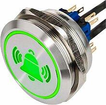 XL LED-Drucktaster mit Klingel Symbol aus V2A