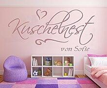 XL Mädchen Wandtattoo mit Namen, 1pt2-pk54-110x50cm, violett - Kuschelnest - fürs Mädchenzimmer, Kinderzimmer, Wandaufkleber Wandtatoos Sticker Aufkleber für die Wand, Tapetensticker, Namensaufkleber mit Wunschname, in 32 Farben wählbar