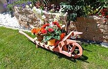 XL Schubkarre Holz, Gartendeko Karre zum Bepflanzen, Blumentöpfe, Pflanzkübel, Pflanzkasten, Blumenkasten, Pflanzhilfe, Pflanzcontainer, Pflanztröge, Pflanzschale, Schubkarren 80 cm HSOF-80-ROT Blumentopf, Holz, amazon rot rötlich lasiert / eingelassen Pflanzgefäß, Pflanztöpfe Pflanzkübel