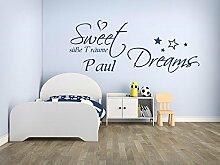 XL Wandtattoo mit Namen und Sternen ~ Sweet Dreams