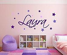XL Wandtattoo Türaufkleber, Kinderzimmer mit Namen für Mädchen, 73004-120cm-tricolore-violett, mit bunten Sternen fürs Mädchenzimmer, Wandaufkleber Wandtatoos Sticker Aufkleber für die Wand, Tapetensticker, Tattoo aus Markenfolie, Namensaufkleber mit Wunschname, in 32 Farben wählbar
