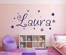 XL Wandtattoo Türaufkleber, Kinderzimmer mit Namen für Mädchen, 73001-120cm-tricolore-violett, mit bunten Sternen fürs Mädchenzimmer, Wandaufkleber Wandtatoos Sticker Aufkleber für die Wand, Tapetensticker, Tattoo aus Markenfolie, Namensaufkleber mit Wunschname, in 32 Farben wählbar