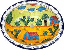 XL-Waschbecken, Motiv: Landschaft, Keramik, handbemalt, Maße 53x45cm