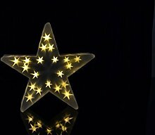 XL Weihnachtsdeko beleuchtet warmweiß innen Stern LED Leuchte mit Timer 20 LED - wunderschöner LED Stern aus PVC mit hologramm Weihnachtsbeleuchtung 3D - Maße je 35 x 35 cm, 8 cm tief