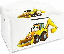 XL Weiße Kinderbank - Gelber Bagger - Holz