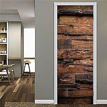 XLXYD Türaufkleber Bilder Vintage Brown Old Wood