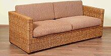 XMC VOGI Rattansofa 2,5-Sitzer mit massiven Holzgestell und Mangrovengeflecht mit Kissen in crocco natur - Stoffbezug closglow