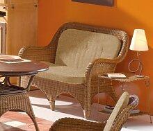 XMC VOGI Rattansofa mit Kissen - Sitzfläche des Sofas ist gestäbt in Rattan-cabana - Stoffbezug closglow