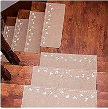 XMJ Treppenmatten Zuhause Teppich Freier Kleber Selbstklebend Leuchtend Massivholz Höflich Rutschfest Teppiche Fußauflage Schrittmatten Leuchtend Fluoreszenz 55cm * 22cm * 4.5cm , bear claw beige