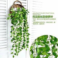 XMJR simulation von pflanzen, blumen, grüne rattan kreative wohnzimmer wand wandgemälde wand dekor shop persönlichkeit bar großen blatt größe 95 cm scindapsus chlorophytum