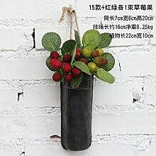 XMJR Wall decoration Alte Essstäbchen und Wandbehänge künstliche Blumen emulation Blumendekorationen kit Bar - Cafe an der Wand retro, 15 + Wände, rote und grüne Frucht Erdbeere ein Kabelbaum