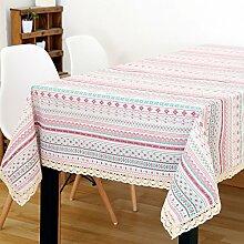 XMMLL Baumwolle Und Leinen Garten Frische Jane Europäischen Gestreifte Stoff Tischdecke Wohnzimmer Couchtisch Tuch, Homestreaks, 110 * 110 Cm (Tisch Verfügbar)