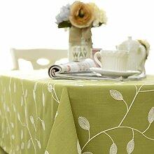 XMMLL Bestickten Tischdecken Gewebe Baumwolle Continental Esstische, Idyllischen Rechteckigen Tisch Schreibtische Abdeckung Handtuch Tischdecke, Matcha Green (Stickerei), 90 * 135 Cm