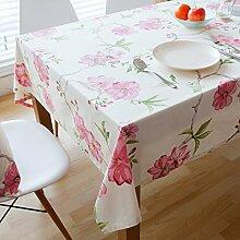 XMMLL Die Pastorale Verdickte Bettwäsche Tischdecke Rund Um Die Wohnzimmer, Studie Tisch Eine Große Tischdecke, Coffeethe Peach Blossom.. Tischdecke, 100 * 160 Cm