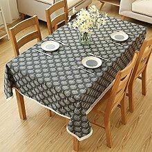 XMMLL Eine idyllische Baumwolle Tischdecken der Esstisch Tücher über die Kante der Schranktür Handtuch~ Tisch Tücher, Schwarz, 140 * 140 Cm