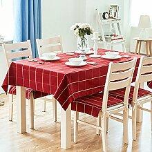 XMMLL Klassische Tischdecken rechteckige Gitter der Künste Esstische Home Tischdecke modernen minimalistischen frischen Kaffee Tisch, klein, dunkel Rot, 140 * 180 Cm.