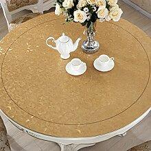 XMMLL Pvcround-Table Tücher wasserdicht Tischsets Tischdecke Rund um die hitzebeständige Bügeleisenmatte gegen Money-Plastic Tischdecke Tastaturansicht, Tan Ecken, 80 Tisch