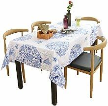 XMMLL Tischdecke Aus Baumwolle Hanf Chinesischen Klassischen Pastorale Runde Tischdecke Tv-Schrank Tisch Matte Handtuch, Blau, Kissen Kit 65 * 65 Cm