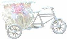 XMWW Große Rattan Dreirad Fahrrad Blume Design