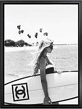 XMYC Nordischer Stil Moderne Plakatmode Surf Frau