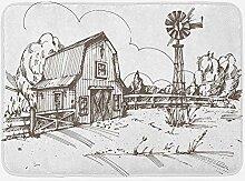 xnngxd Windmühle Badematte Rustikale Scheune