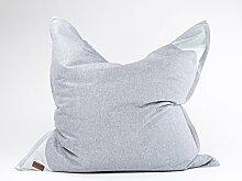Xoft Living, Luxus XXL Sitzsack, aus Stoff, Formstabil, 135 x 135 cm (Grau)