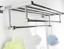 Xogolo Massivem Messing Badezimmer Handtuchhalter Regal mit 2 Fell und Bademantel Haken Wand montiert, Chrom