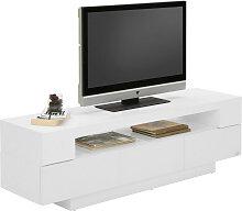 Xora LOWBOARD Weiß , Glas, 150x45x40 cm