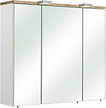 Xora SPIEGELSCHRANK Weiß , 6 Fächer, 80x70x20 cm