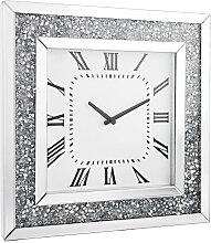 Xora WANDUHR , Silber, Weiß , Glas , 50x50x5 cm ,