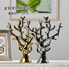 XOYOYO Abstract Modern Love Tree Keramische Ziergegenstände Heimtextilien Schmuck Schmuck, Gold Und Silber Anzug
