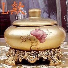 XOYOYO Continental Retro Keramik große Aschenbecher kreative Dekoration Tisch mit Deckel, Silber [Harz Basis, L]