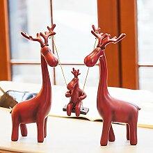 XOYOYO Eine Familie Von Drei Nordischen Hirsche Wohnzimmer Hochzeit Hochzeit Geschenk Schmuck Praktische Senden Bestie Heimtextilien Dekoration, Braun Rot Herbst Rotwild