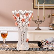 XOYOYO Einfache Und Moderne Keramik Hohlen Vase Ornamente Kreative Tv-Tisch Dekorationen Heimtextilien Wohnzimmer Eingang, Orange Ist Dünn