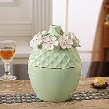 XOYOYO Europäische Blume Vase Ornamente Kreativ Wohnzimmer Tisch Wein Tv Tisch Blume Ornament Größe Heimtextilien, Grün Trompete