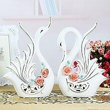 XOYOYO Europäische Dekoration Keramik Swan Wein Home Ausstattung Wohnzimmer Tv-Schrank Hochzeit Geschenk Kreatives Handwerk, Rosa Blüten