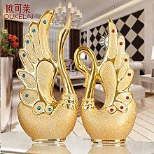 XOYOYO Europäische Moderne Hochzeit Geschenke Wohnzimmer Tv-Schrank Dekor Swan Heimtextilien Schmuck Schmuck Kreative Wein, Großen Swan Silber Paar