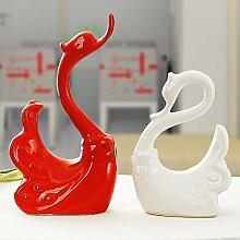 XOYOYO Geschenk Keramische Technologie Liebhaber Fisch Heimtextilien Schmuck Wohnzimmer Dekoration Ideen Kiss, Neue Zingiber Swan Ist Rot Und Weiß