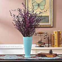 XOYOYO Moderne Einrichtung Im Minimalistischen Stil Keramik Vase Floralen Ornamenten Heimtextilien Creative Desktop Dekoration Zimmer, Blau Vase Lila Getrocknete Blume