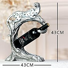 XOYOYO Nordic Lucky Weinzahnstangen Praktische Dekoration Kunsthandwerk Geschäfte Geschenke Heimtextilien Leopard Restaurant Wine Rack, Leopard Wein Stand-Antik Silber