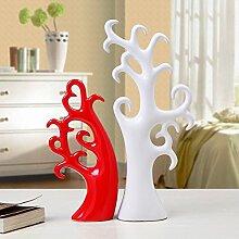 XOYOYO Schwarze Und Weiße Einfachheit Home Ausstattung Wohnzimmer Einrichtung Kunst Keramik Schmuck Schrank Dekor, Schwarz Und Weiß Liebe Baum