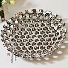 XOYOYO Versilbert Keramik Obstteller Heimtextilien Praktische Einrichtung Dekoration Moderner Schmuck Silber Obstteller