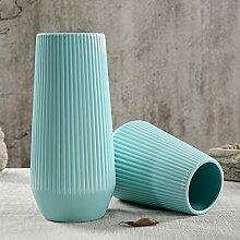 XOYOYO Weißer Keramik Vase Blume Blume Ornamente Einfache Moderne Europäische Modell Heimtextilien Dekoration, Tower Typ Blau Groß (Ohne Blüten)