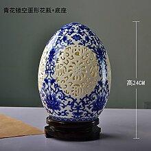 XOYOYO Yuhang Handgefertigte Keramik Porzellan Vase Heimtextilien Dekoratives Kunsthandwerk Geschnitzt Klassik, Unterglasur Blau Eiförmige Vase Base