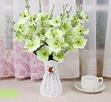 XPHOPOQ Das Wohnzimmer Künstliche Blumen Fake Blumen Topfpflanzen Garten Hochzeit Dekoration grün Orchid