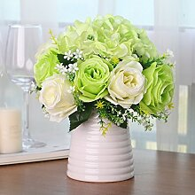 XPHOPOQ Der koreanische Stil Rose Indoor Wohnzimmer Dekoration künstliche Blumen Pflanzen Grün