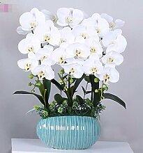 XPHOPOQ Die Orchidee Topfpflanzen künstliche Blumen Keramik Vase Indoor Esstisch Dekoration Weiß
