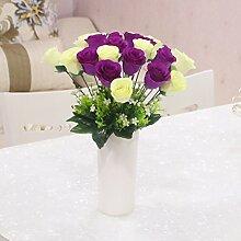 XPHOPOQ Die Rose Indoor europäischen Stil Essen Tisch hotel Dekoration Seide Blumen Künstliche Blumen Blumen Bouquet Viole