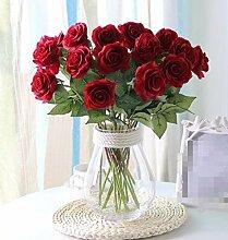 XPHOPOQ Einfache moderne Stil künstliche Blumen Wohnzimmer kreativ Dekoration getrocknete Blumen Rose transparente Glas Vase Ro